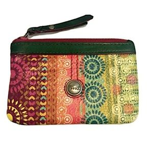 FOSSIL Tribal Boho Leather Coin & ID Holder Pouch